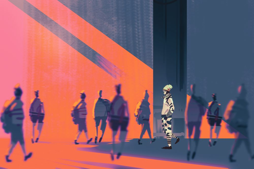 man walking to different way,unique concept,illustration