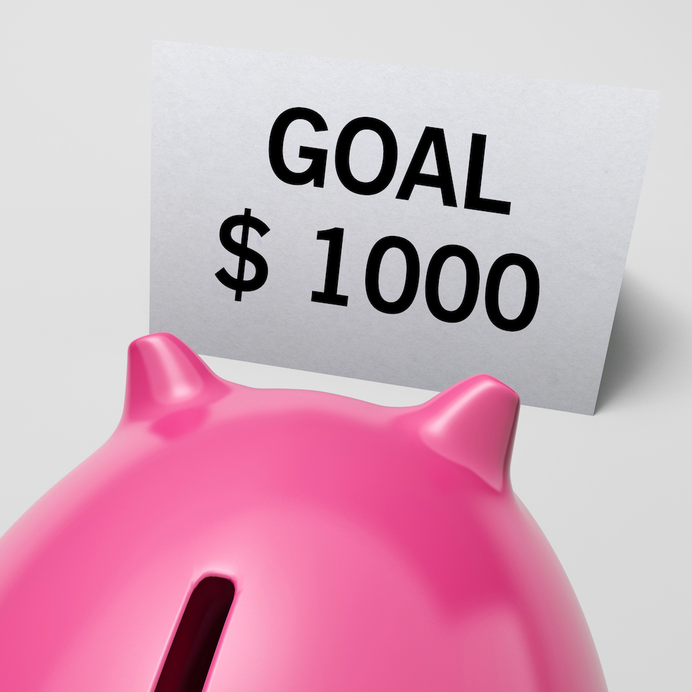 One Thousand dollars, usd Goal Showing Ambition And Earning Expectations