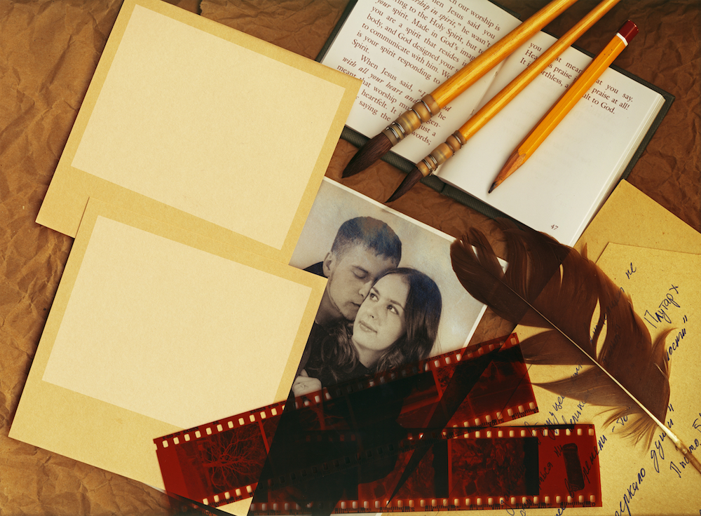 Artistic vintage background. Vintage polaroid pictures with a clipping path for your picturies
