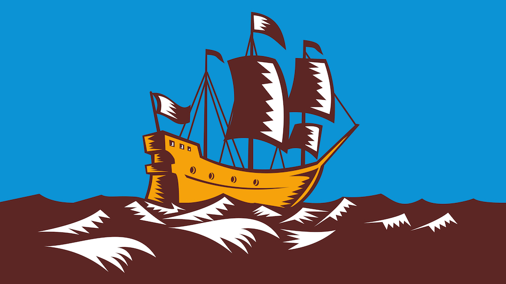 Illlustration of a tall sailing cargo ship galleon done in retro woodcut style.