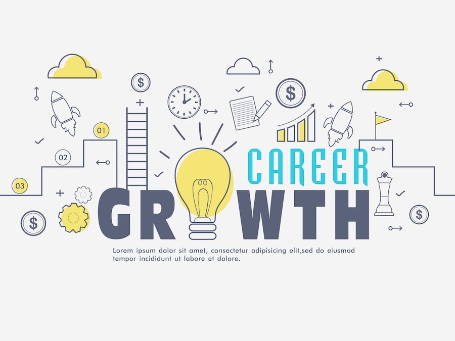 Innovative Infographic elements for Career Growth concept.